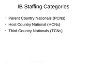 IB Staffing Categories