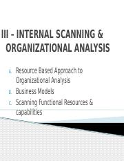 III – INTERNAL SCANNING & ORGANIZATIONAL ANALYSIS
