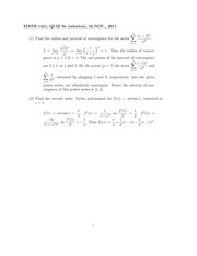 MATH 1451 Fall 2011 Week 9 Quiz Solutions