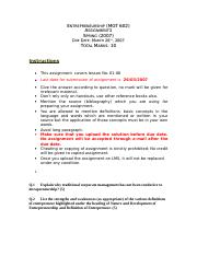 Entrepreneurship - MGT602 Spring 2007 Assignment 01
