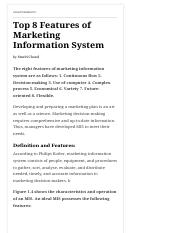 Top 8 Features of Marketing Information System