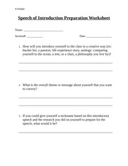 Introductary Speech Preparation Worksheet