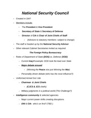 National Security Council Notes