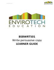 LEARNER GUIDE - BSBWRT501 - Write persuasive copy.pdf