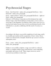 Psychosocial Stages