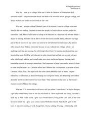 My faith story Essay - Faith Story College Experience My