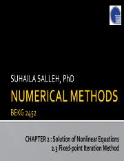 Chapter2 BEKG2452 2.3 Solution of Nonlinear Equations_FixedPoint Iteration Methods
