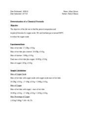 Report 5 - Determination of a Chemical Formula