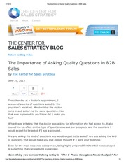 The Importance of Asking Quality Questions in B2B Sales