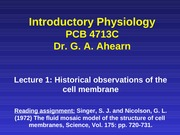 Lecture 1 Historical observations of the cell membrane