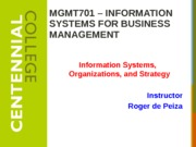 Class 3 - Information Systems, Organizations, and Strategy W15