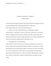 Leadership Communication-Assignment 2.docx
