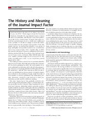 The history of Journal impact