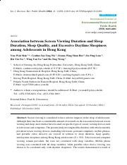 Association between screen viewing duration and sleep duration, sleep quality, and excessive daytime