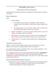 Notes Ch 2 - Consolidation of Financial Information