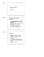 5.1  Simplex Method PPT Handout