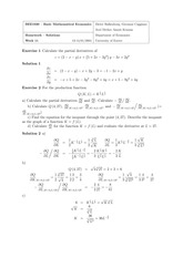 Homework — Solutions Department of Economics week 11