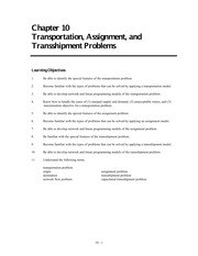 Transportation, Transshipment and Assignment problems - supplemental-1