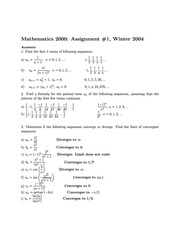 Math 2000 Assignment 1 Solutions 2004