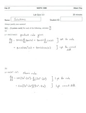 MATH 1500 Quiz 3 Solutions