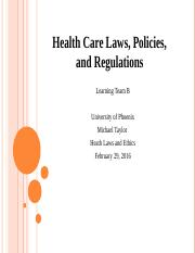 Health Care Laws, Policies, and Regulations (1)