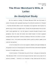 The River Merchant's Wife - An Analytical Study