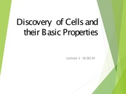 Lecture 1 -Discovery  of Cells and their Basic Properties-2014