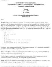Computer Science 164 - Spring 1991 - Yelick - Midterm 1