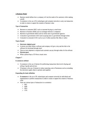 Chapter 7 Notes - A Business Model