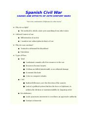 CAUSES AND EFFECTS OF 20TH CENTURY WARS