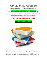 MHA 616 Week 3 Assignment Healthcare IT System Needs.doc