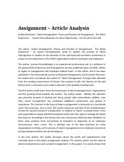 Article analysis_Talent Management