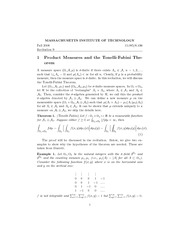 Product Measures and the Tonelli-Fubini Theorem notes