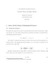 Lecture Notes on Solow Model
