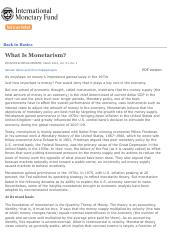 What Is Monetarism- - Back to Basics - Finance & Development, March 2014