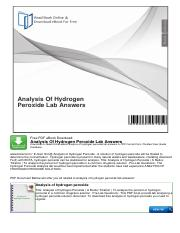 Analysis Of Hydrogen Peroxide Lab Answers.pdf