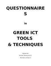 Green ICT Questionnaires