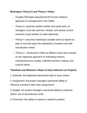 McGregors Theory X and Theory Y Notes