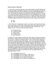 Practice Questions (Final Exam Spring 2011)