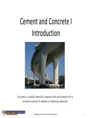 23. Cement and Concrete I - Introduction