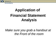 POST Class 17 --Application of Financial Statement Analysis