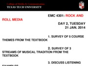 EMC 4301- Survey of Course & Themes From Textbook