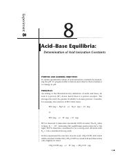 Exp. 8 Acid-Base Equilibria