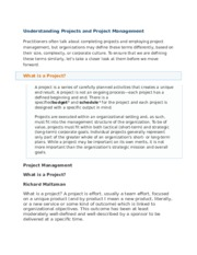 Understanding Projects and Project Management