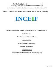 SH5013-Shariah Aspects of Business and Finance- Investment Account Platform (R.M.A. HAsan Chowdhury