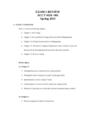 EXAM 1 REVIEW-ACCT 4310 - Spring 2013