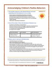Acknowledging Positive Behavior Handout