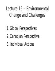 GEOG 2EI3 Lecture 15: Environmental Change and Challenges