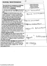 operant consequences worksheet