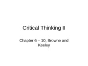 Lecture 11  Critical Thinking II